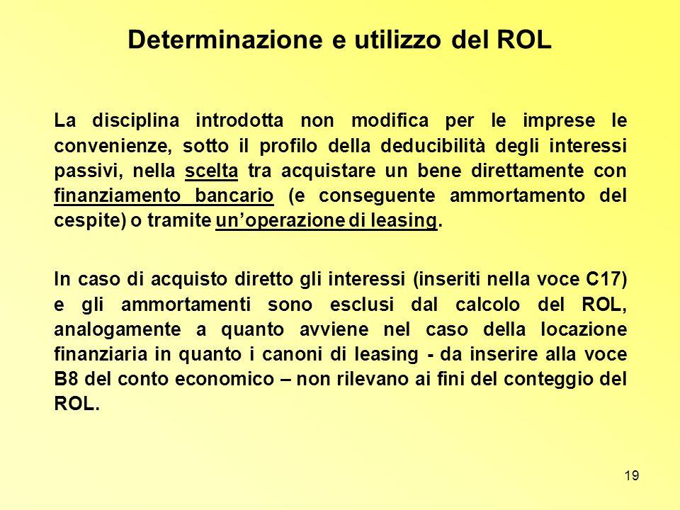 Determinazione e utilizzo del ROL