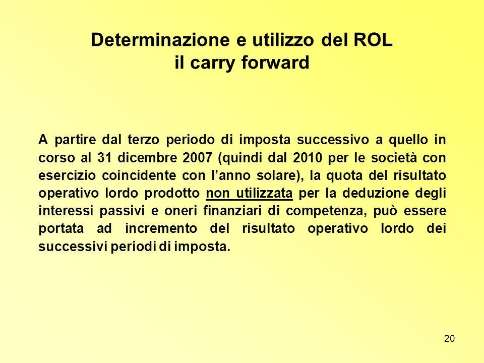 Determinazione e utilizzo del ROL il carry forward