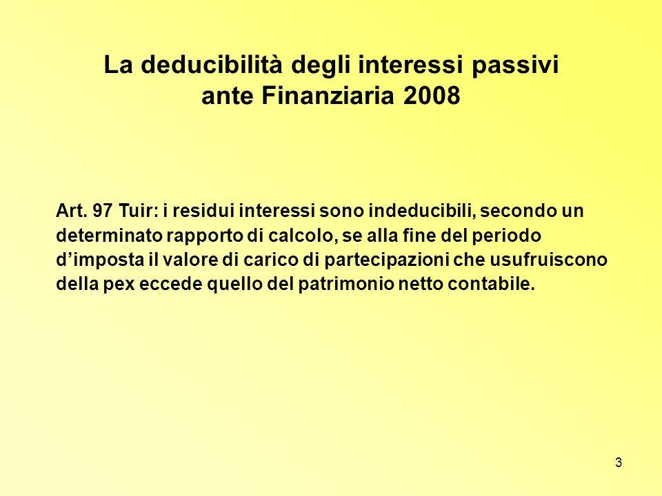 La deducibilità degli interessi passivi ante Finanziaria 2008