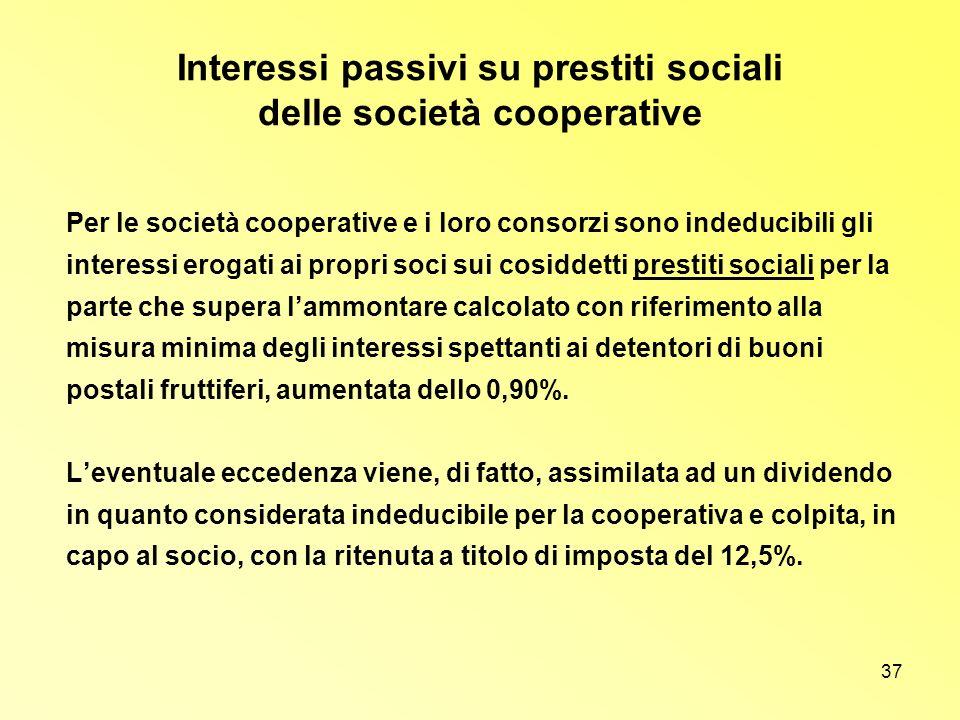 Interessi passivi su prestiti sociali delle società cooperative
