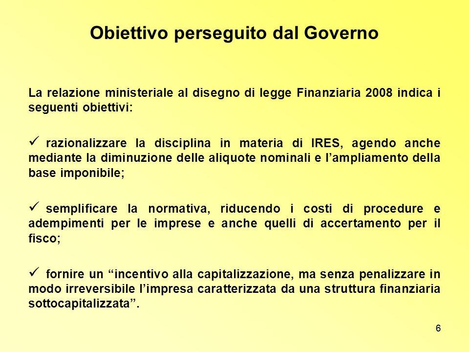Obiettivo perseguito dal Governo