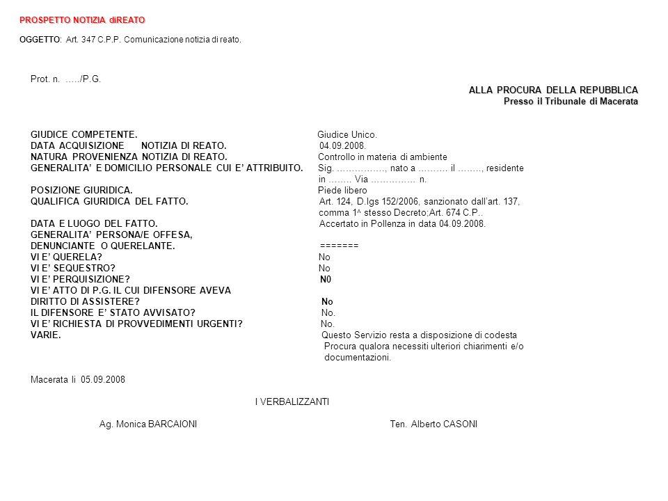 ALLA PROCURA DELLA REPUBBLICA Presso il Tribunale di Macerata