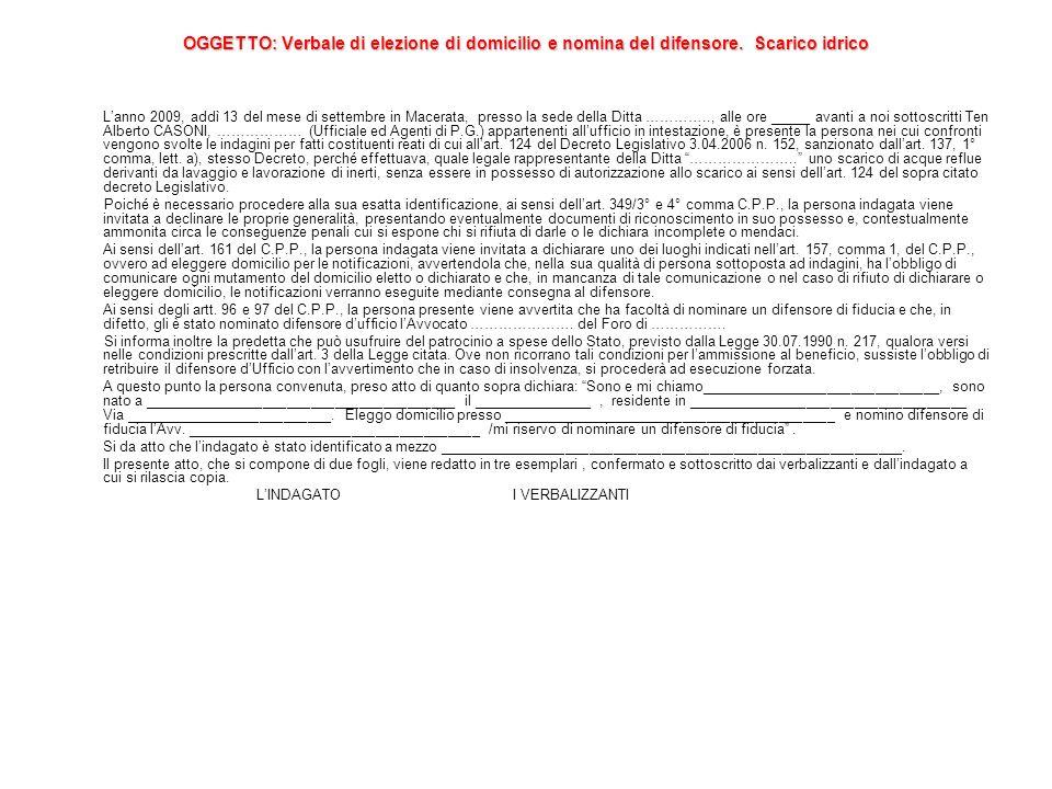 OGGETTO: Verbale di elezione di domicilio e nomina del difensore