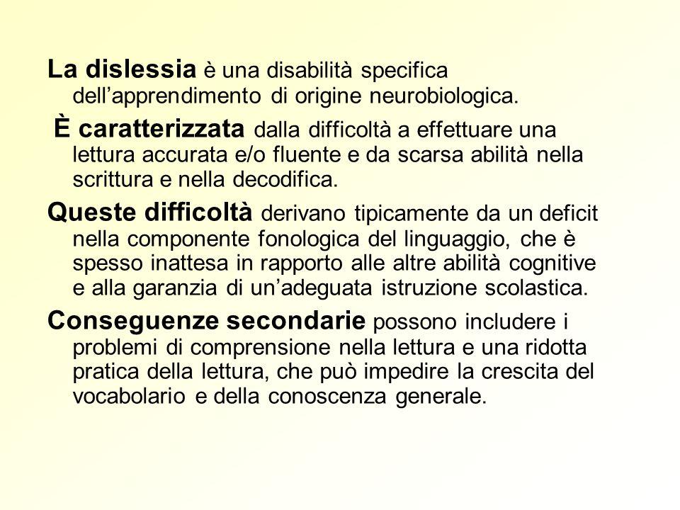 La dislessia è una disabilità specifica dell'apprendimento di origine neurobiologica.