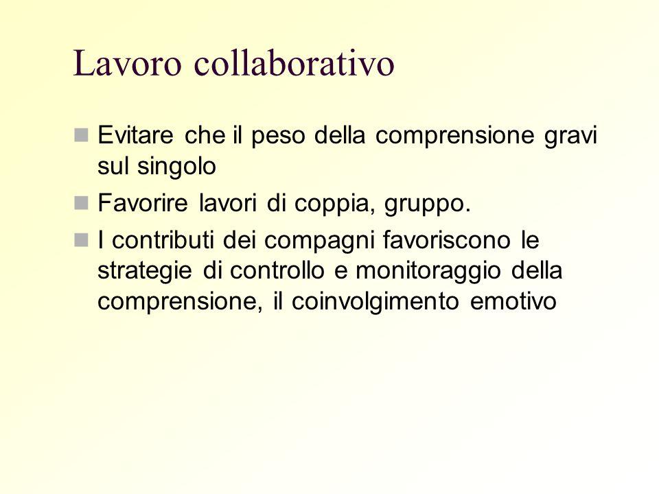 Lavoro collaborativoEvitare che il peso della comprensione gravi sul singolo. Favorire lavori di coppia, gruppo.