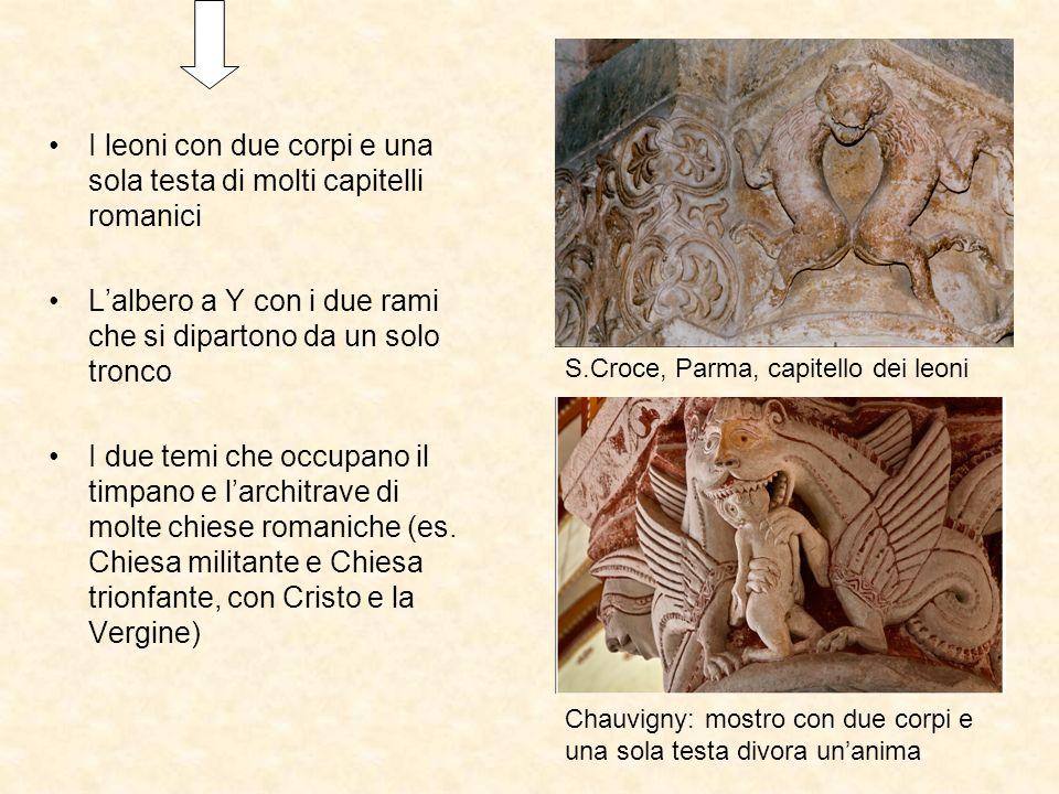 I leoni con due corpi e una sola testa di molti capitelli romanici