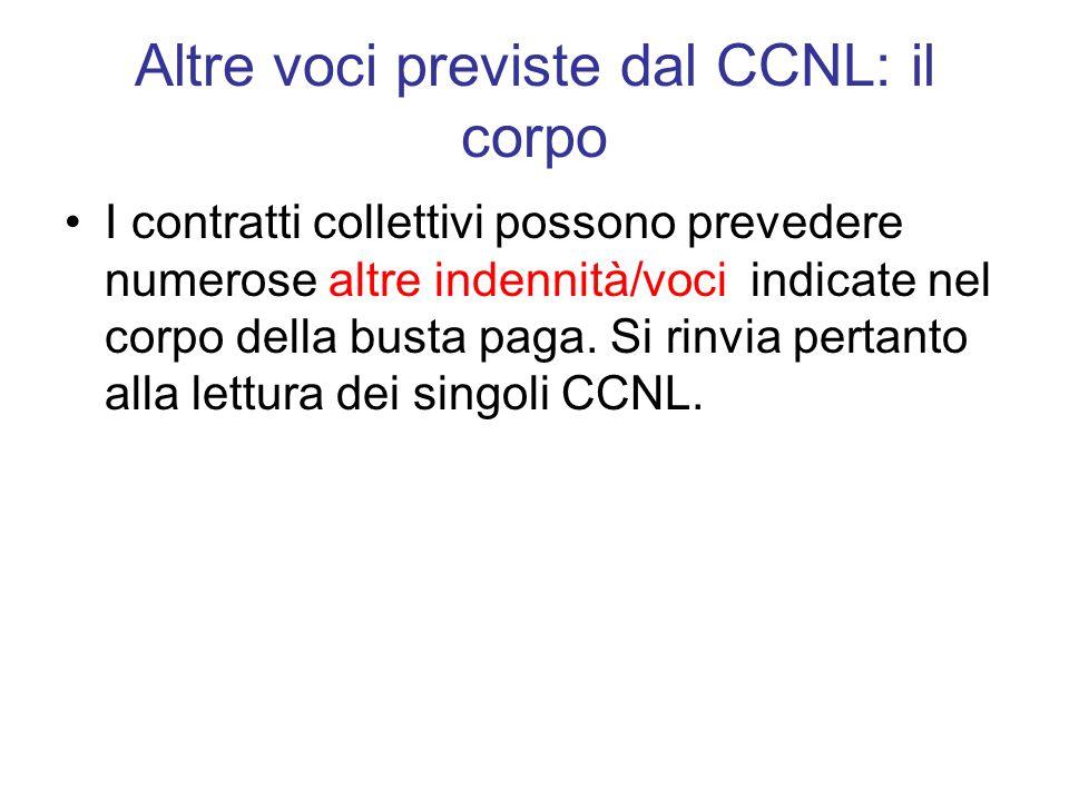 Altre voci previste dal CCNL: il corpo