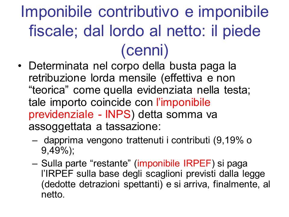 Imponibile contributivo e imponibile fiscale; dal lordo al netto: il piede (cenni)