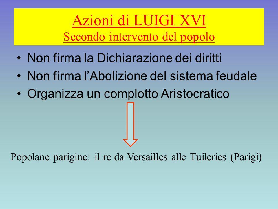 Azioni di LUIGI XVI Secondo intervento del popolo