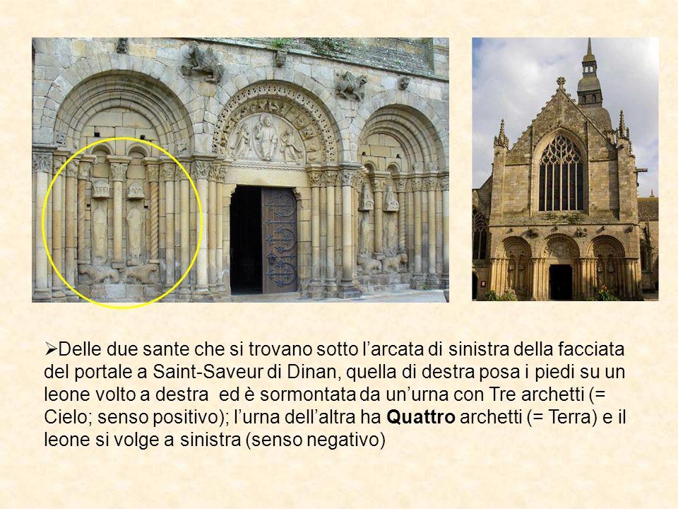 Delle due sante che si trovano sotto l'arcata di sinistra della facciata del portale a Saint-Saveur di Dinan, quella di destra posa i piedi su un leone volto a destra ed è sormontata da un'urna con Tre archetti (= Cielo; senso positivo); l'urna dell'altra ha Quattro archetti (= Terra) e il leone si volge a sinistra (senso negativo)