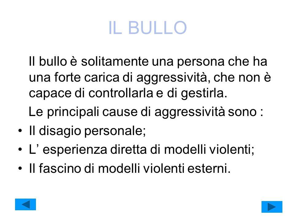 IL BULLO Il bullo è solitamente una persona che ha una forte carica di aggressività, che non è capace di controllarla e di gestirla.