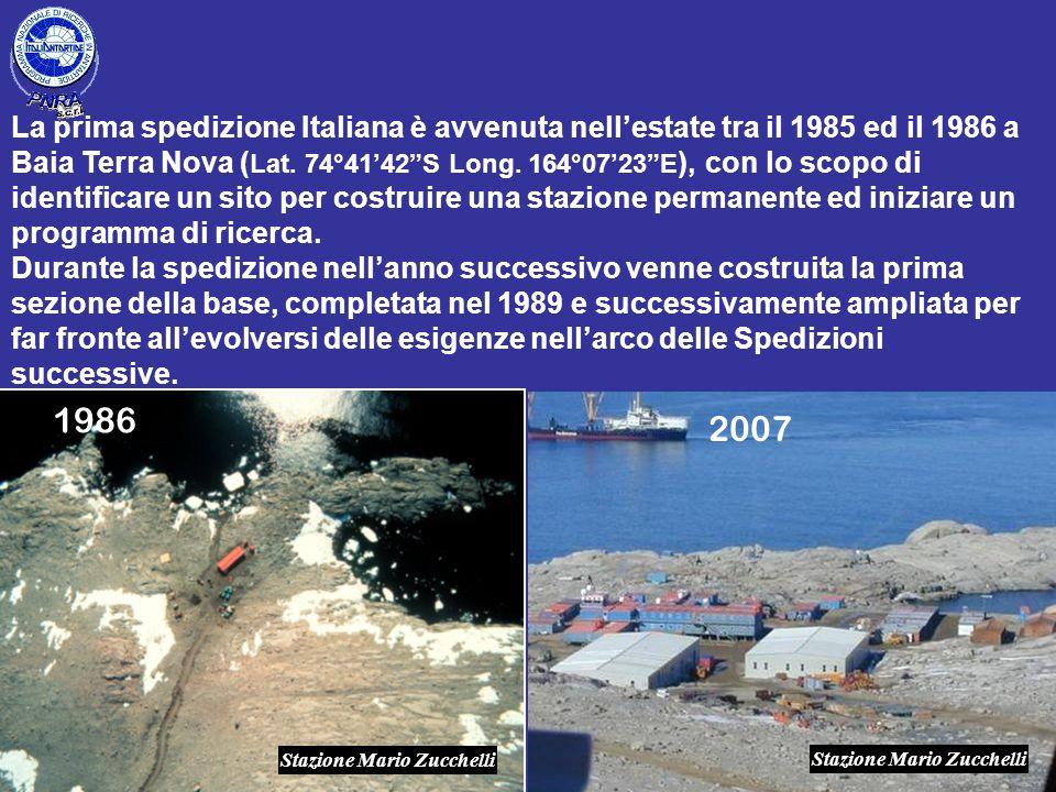 La prima spedizione Italiana è avvenuta nell'estate tra il 1985 ed il 1986 a Baia Terra Nova (Lat. 74°41'42 S Long. 164°07'23 E), con lo scopo di identificare un sito per costruire una stazione permanente ed iniziare un programma di ricerca.