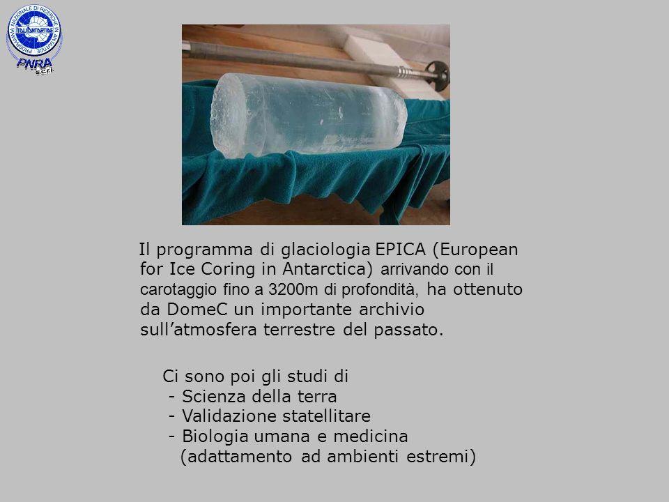 Il programma di glaciologia EPICA (European for Ice Coring in Antarctica) arrivando con il carotaggio fino a 3200m di profondità, ha ottenuto da DomeC un importante archivio sull'atmosfera terrestre del passato.
