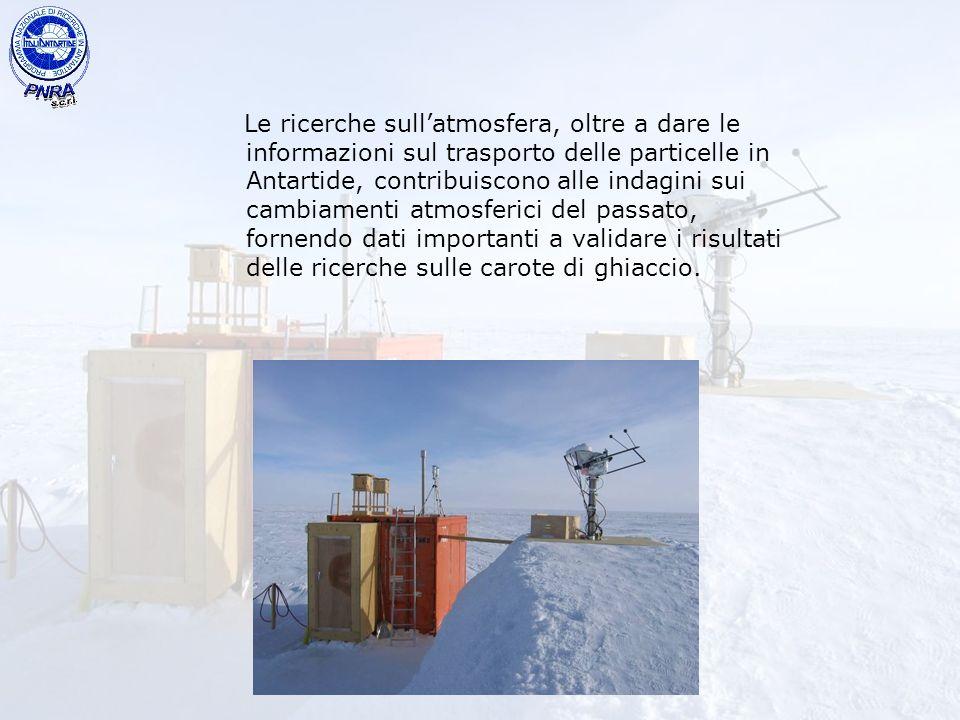 Le ricerche sull'atmosfera, oltre a dare le informazioni sul trasporto delle particelle in Antartide, contribuiscono alle indagini sui cambiamenti atmosferici del passato, fornendo dati importanti a validare i risultati delle ricerche sulle carote di ghiaccio.