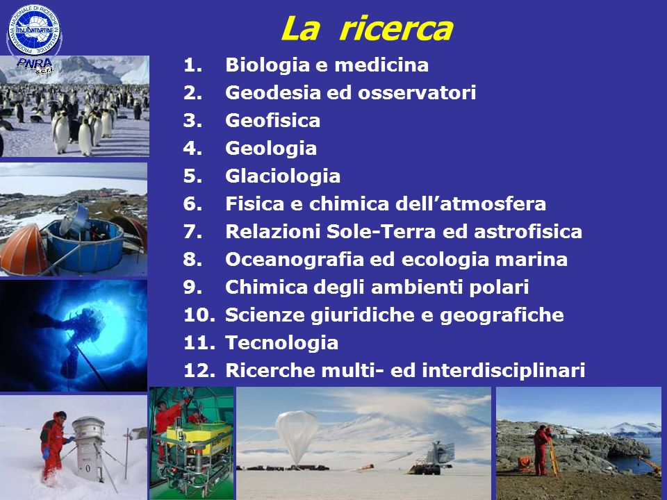 La ricerca Biologia e medicina Geodesia ed osservatori Geofisica