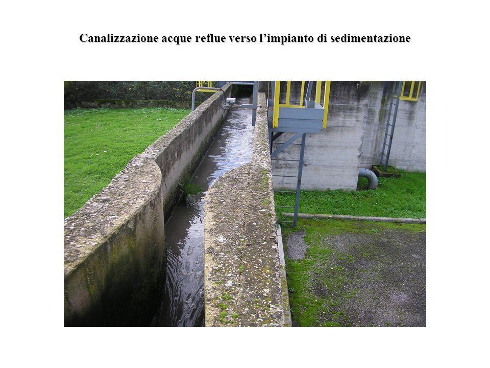 Canalizzazione acque reflue verso l'impianto di sedimentazione