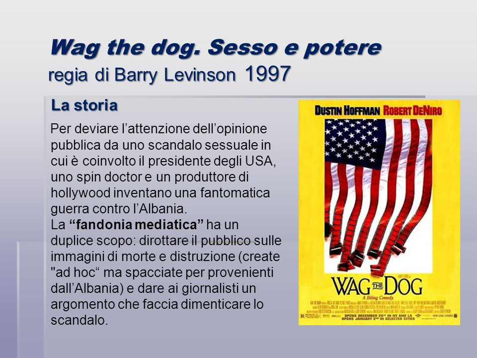 Wag the dog. Sesso e potere regia di Barry Levinson 1997