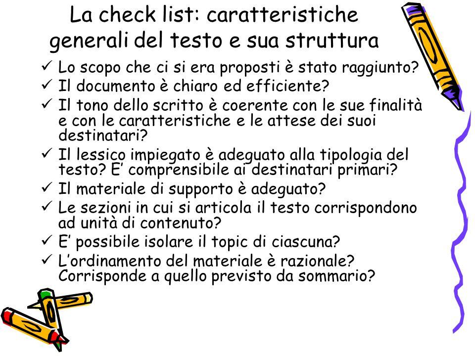 La check list: caratteristiche generali del testo e sua struttura