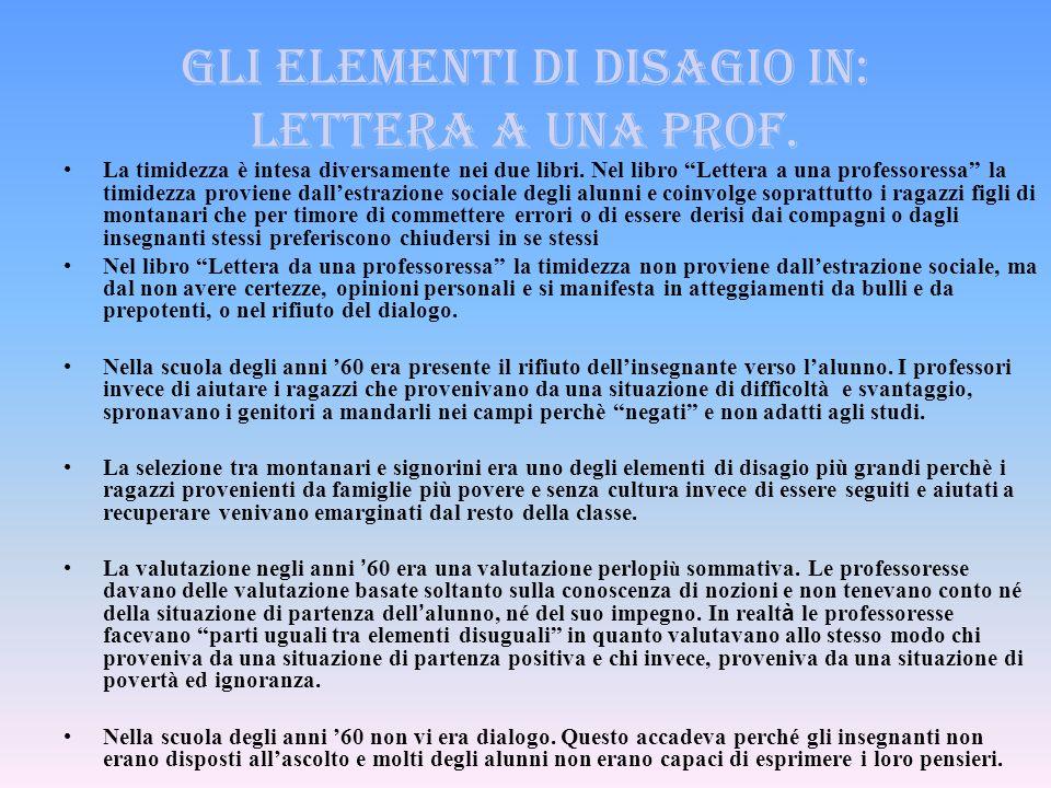 Gli elementi di disagio in: lettera a una prof.