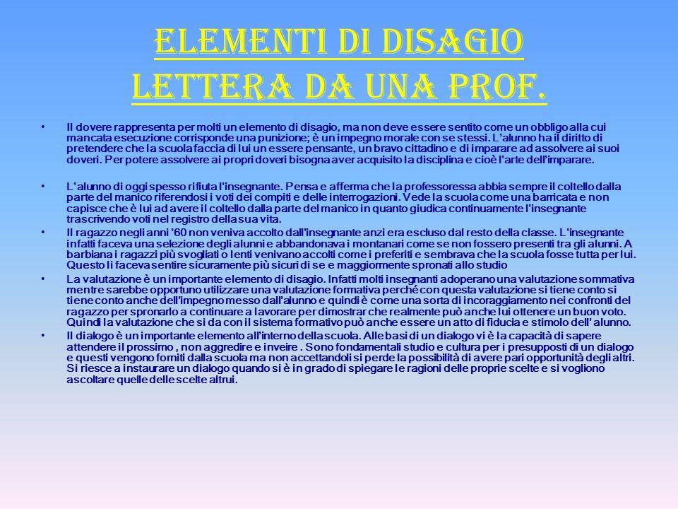 Elementi di disagio lettera da una prof.