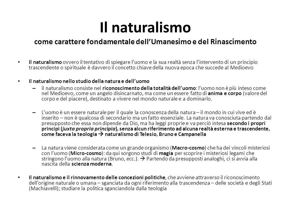 Il naturalismo come carattere fondamentale dell'Umanesimo e del Rinascimento