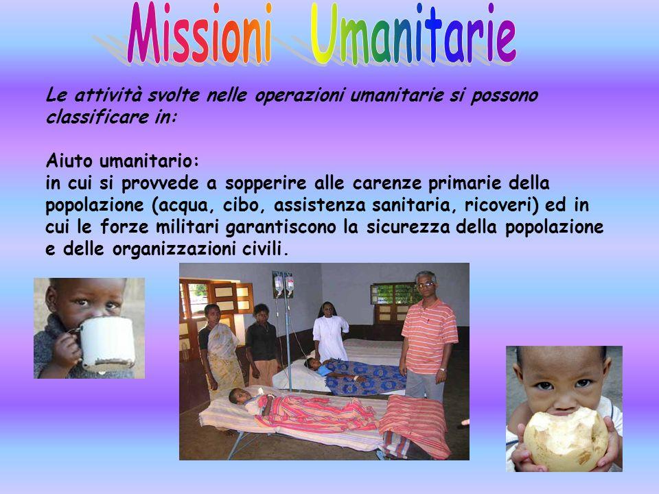 Missioni Umanitarie Le attività svolte nelle operazioni umanitarie si possono classificare in: Aiuto umanitario: