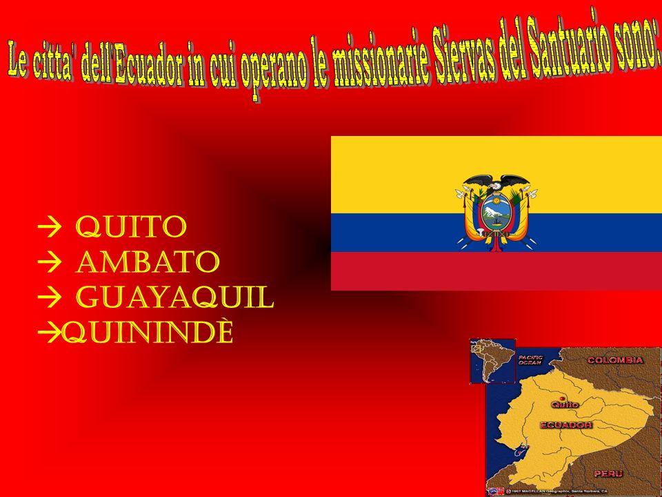 Le citta dell Ecuador in cui operano le missionarie Siervas del Santuario sono: