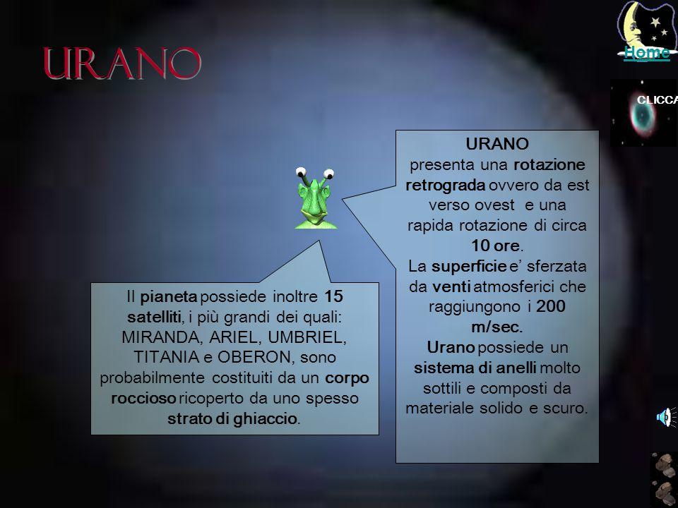 Home Urano. CLICCA. URANO. presenta una rotazione retrograda ovvero da est verso ovest e una rapida rotazione di circa 10 ore.