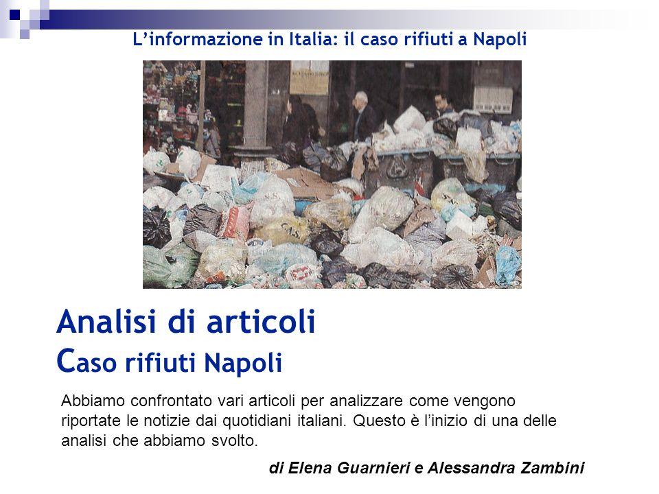 Analisi di articoli Caso rifiuti Napoli