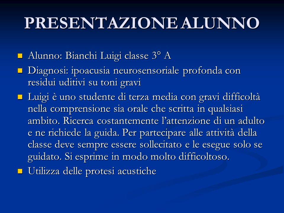 PRESENTAZIONE ALUNNO Alunno: Bianchi Luigi classe 3° A