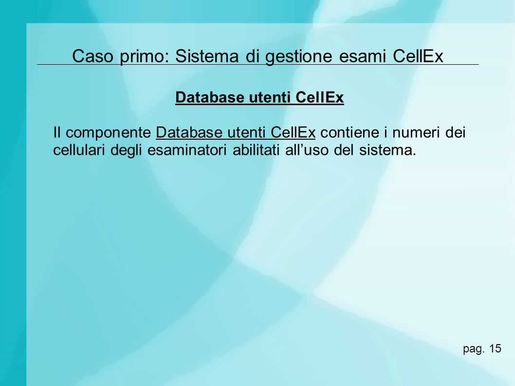 Database utenti CellEx