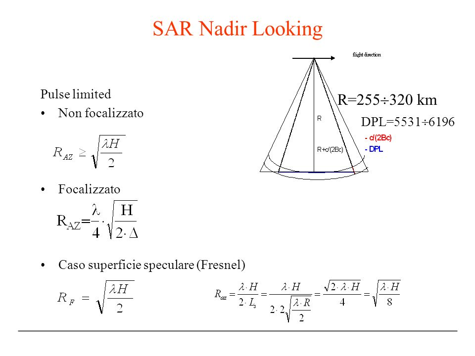 SAR Nadir Looking R=255320 km Pulse limited Non focalizzato