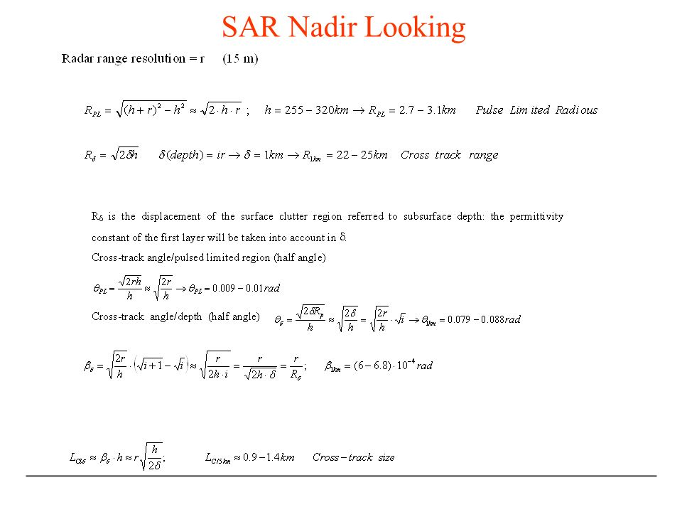 SAR Nadir Looking