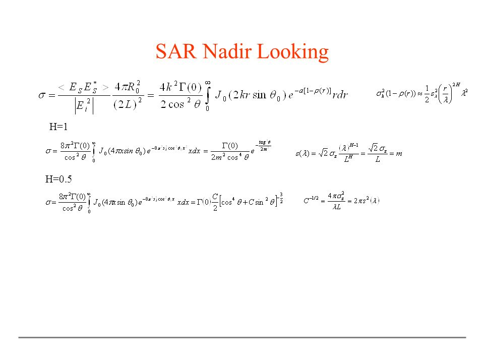 SAR Nadir Looking H=1 H=0.5