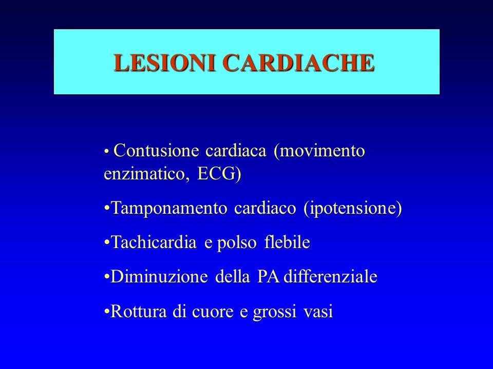 LESIONI CARDIACHE Tamponamento cardiaco (ipotensione)