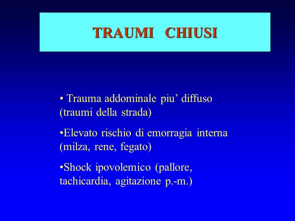 TRAUMI CHIUSI Trauma addominale piu' diffuso (traumi della strada)
