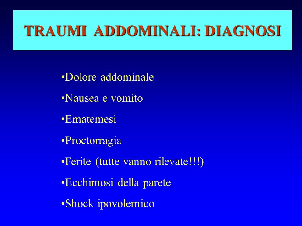 TRAUMI ADDOMINALI: DIAGNOSI