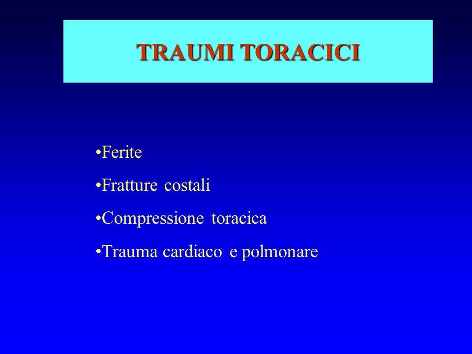TRAUMI TORACICI Ferite Fratture costali Compressione toracica