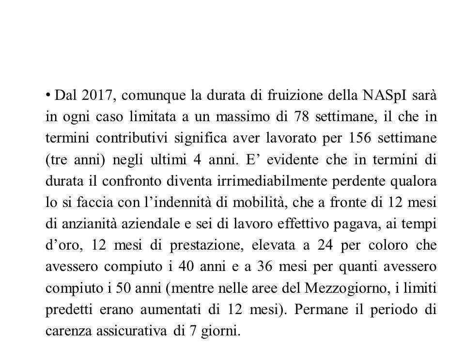 Dal 2017, comunque la durata di fruizione della NASpI sarà in ogni caso limitata a un massimo di 78 settimane, il che in termini contributivi significa aver lavorato per 156 settimane (tre anni) negli ultimi 4 anni.