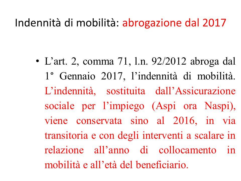 Indennità di mobilità: abrogazione dal 2017