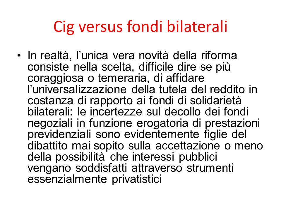 Cig versus fondi bilaterali
