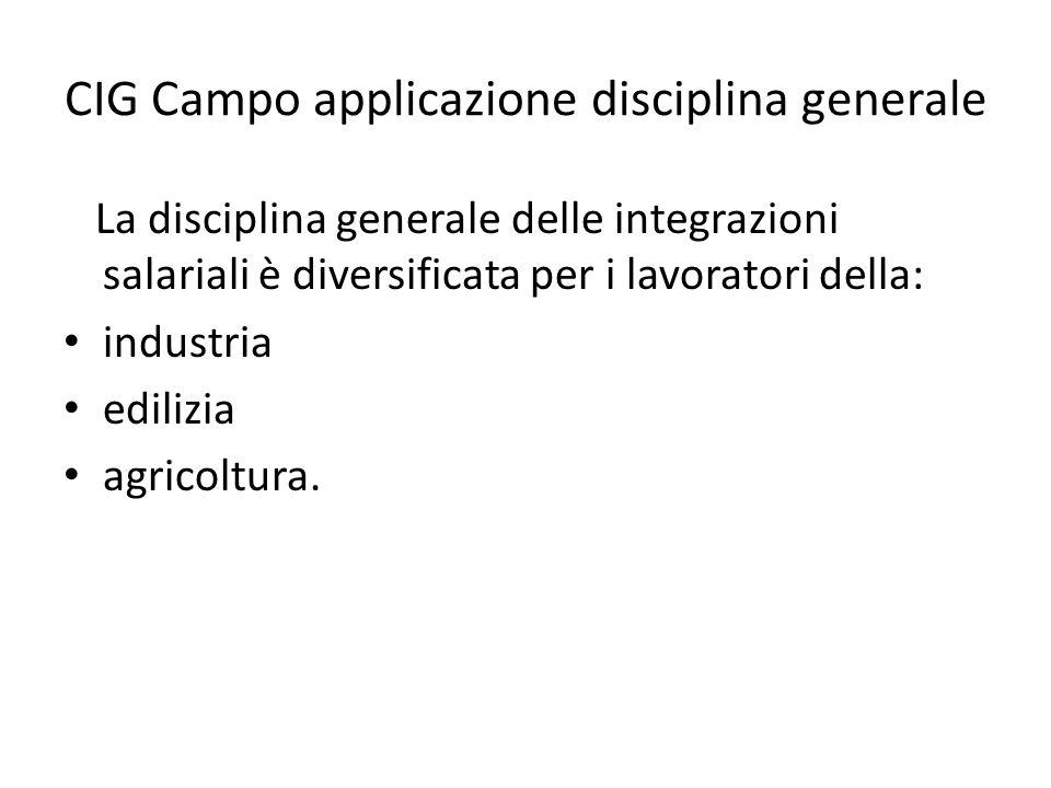 CIG Campo applicazione disciplina generale