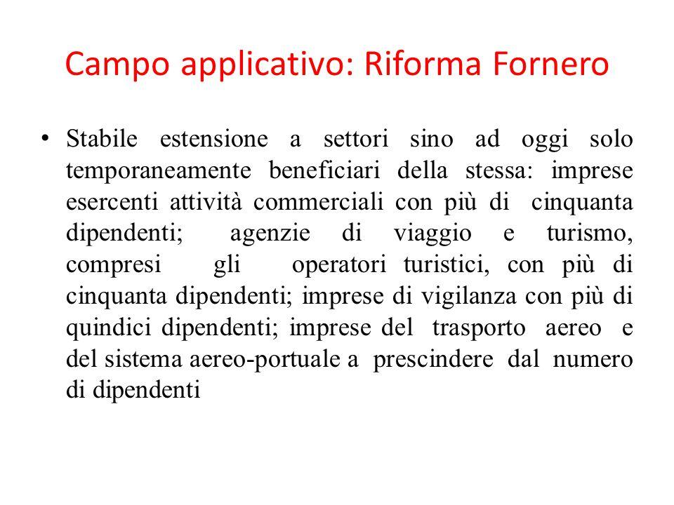Campo applicativo: Riforma Fornero
