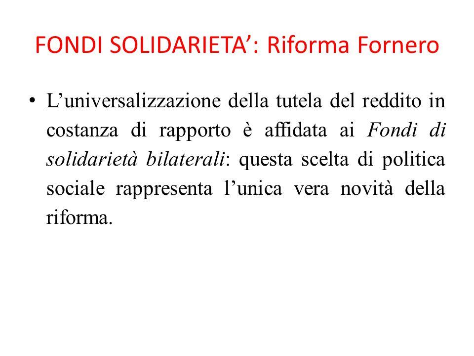 FONDI SOLIDARIETA': Riforma Fornero