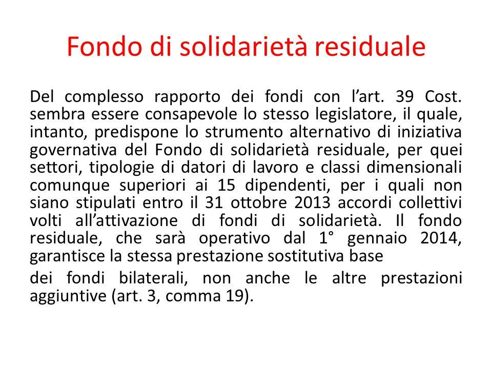 Fondo di solidarietà residuale