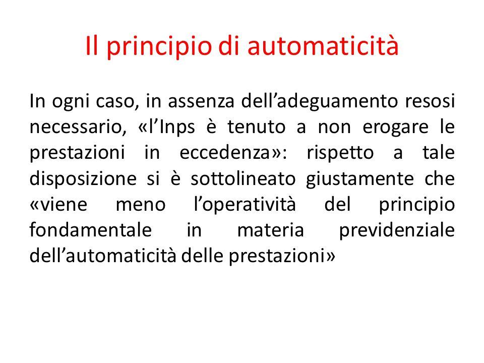 Il principio di automaticità