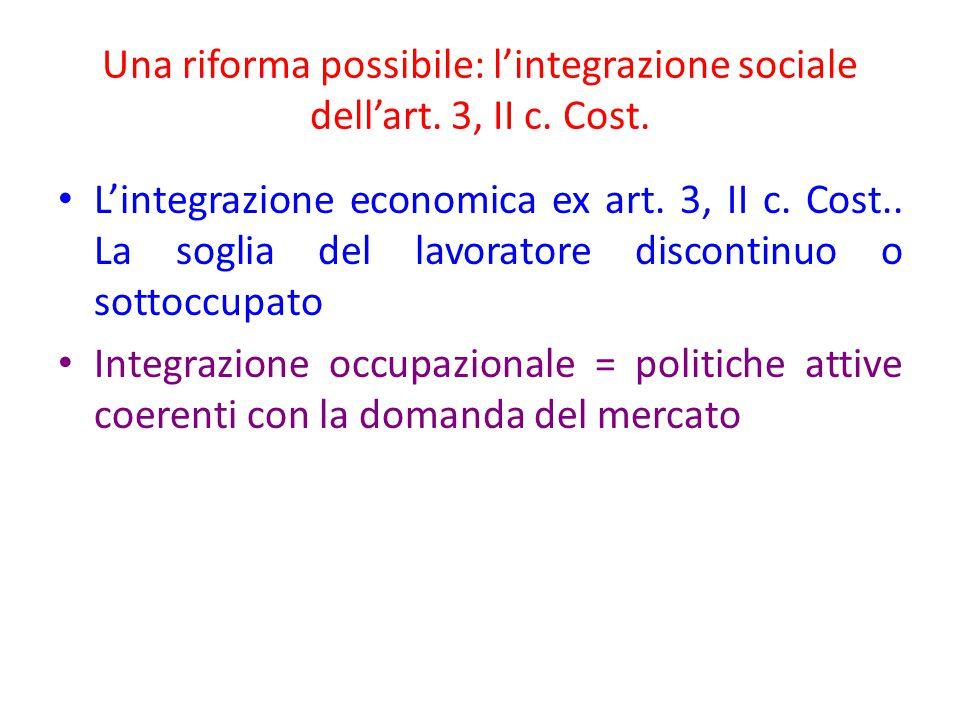 Una riforma possibile: l'integrazione sociale dell'art. 3, II c. Cost.