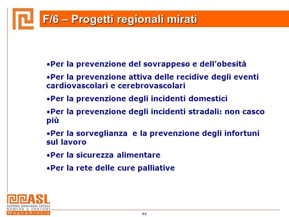 F/6 – Progetti regionali mirati