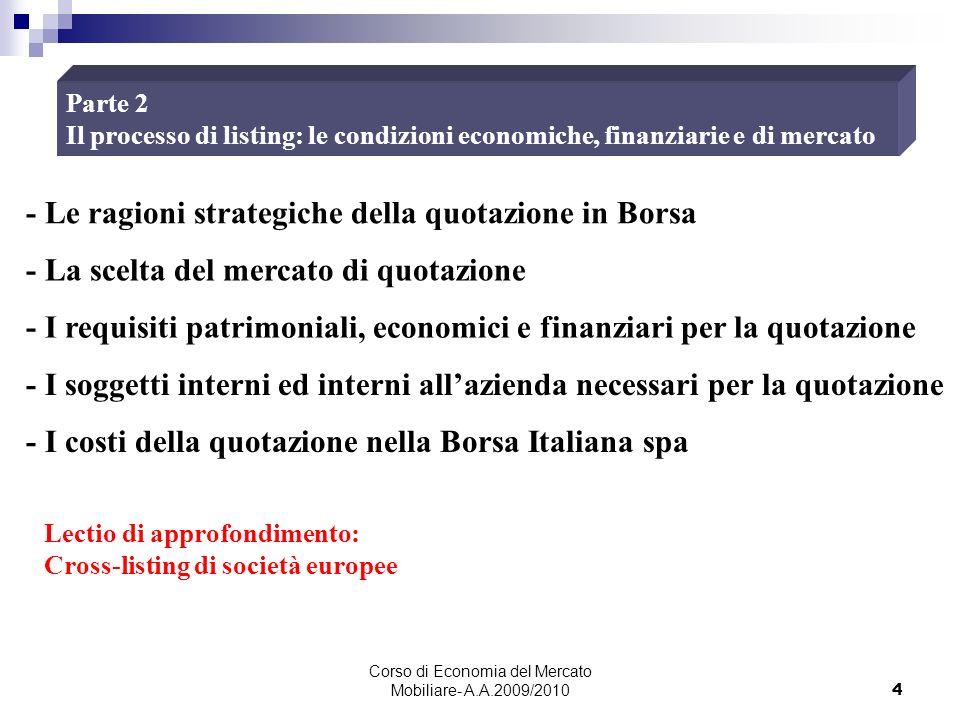 Corso di Economia del Mercato Mobiliare- A.A.2009/2010