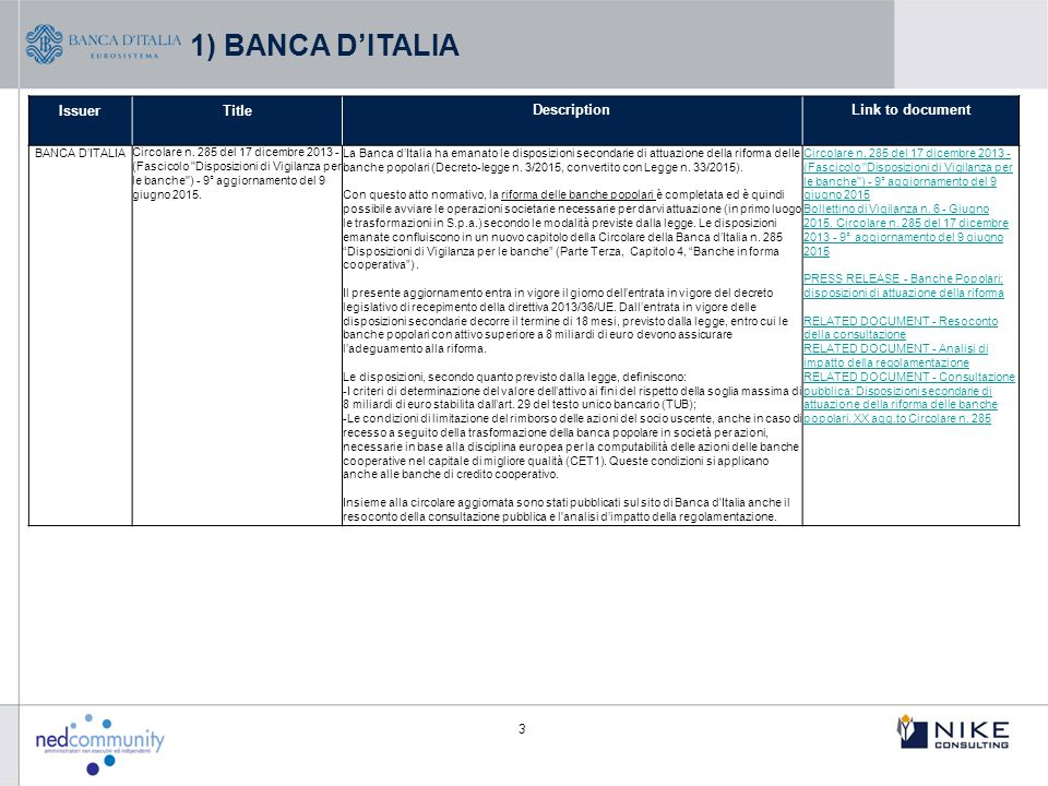 1) BANCA D'ITALIA Issuer Title Description Link to document